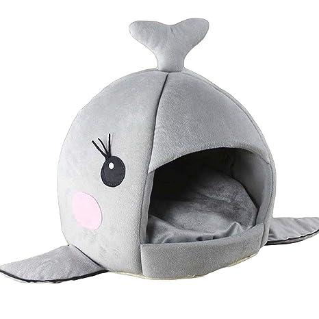 JEELINBORE Práctica Casa de Mascotas Ronda Tiburón Cama para Perros y Gatos (Gris #1