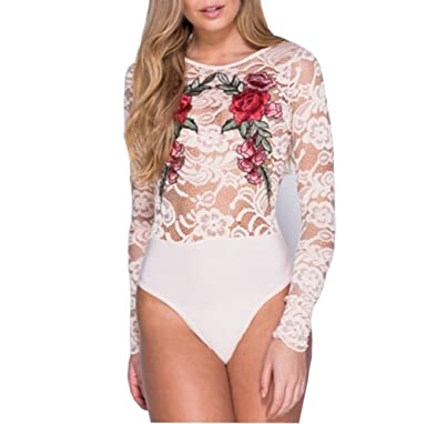 2d6b1fe8f5 Womens Sexy Lingerie Flower Patch Lace Long Sleeve Jumpsuit Romper Bodysuit  (M