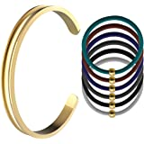 Womens Stainless Steel Grooved Bangle Hair Tie Bracelet Cuff for Girls+6 Unique Hair Ties
