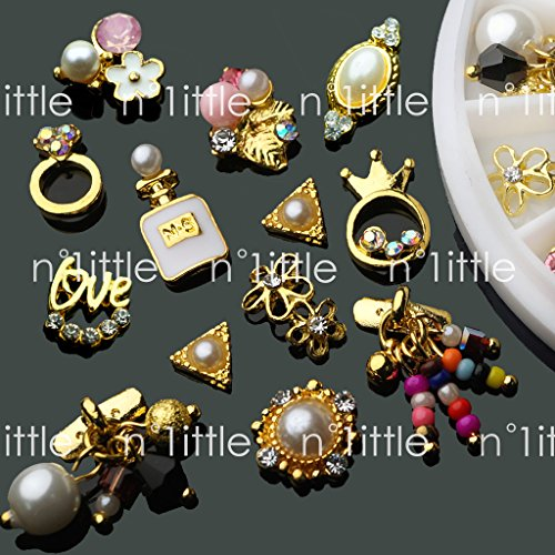 14 Pcs 3D Nail Art GOLD Flower Ring Decoration Alloy/Pearl Jewelry Rhinestone (Rhinestones Pearl Charms)