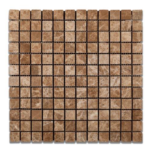 Emperador Light (Cedar) Marble 1 X 1 Tumbled Mosaic Tile - Box of 5 Sheets