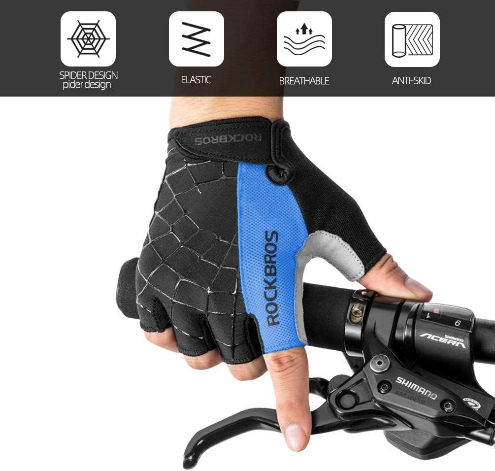 RockBros Half Finger Gloves Shockproof Breathable Cobweb Green Short Gloves