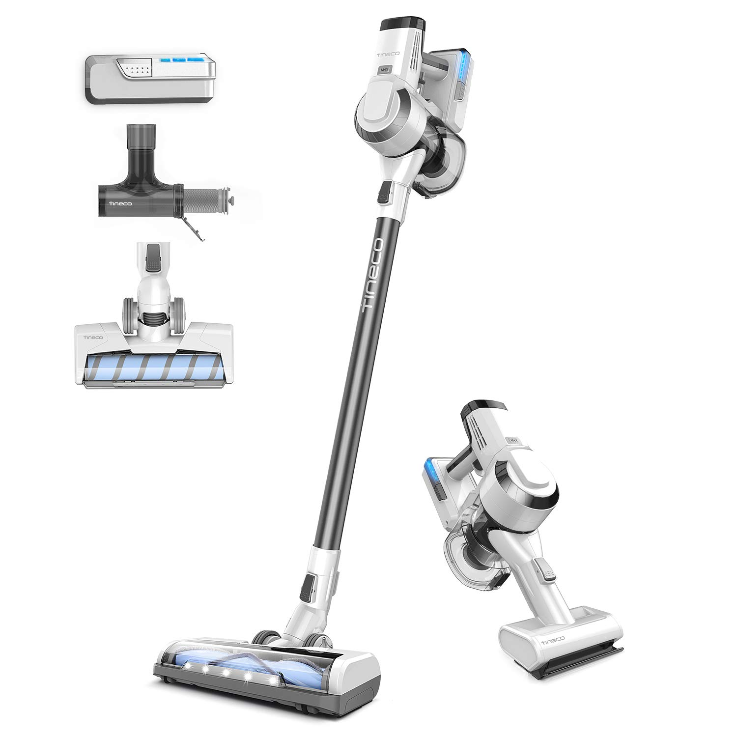 Tineco A10 Master Cordless Vacuum 2-in-1 Handheld Stick Vacuum 350W Rating Power 2 LED Power Brush for Hardwood Floor Carpet Pet Hair Deep Clean with 2pcs Rechargeable Batteries, 2-Year Warranty by Tineco