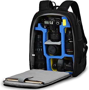 Photography Laptop Backpack for Women Men Waterproof Camera Backpack Professional DSLR Bag with USB Charging Port Tripod Camera Case Compatible for Sony Canon Nikon Lens Accessories