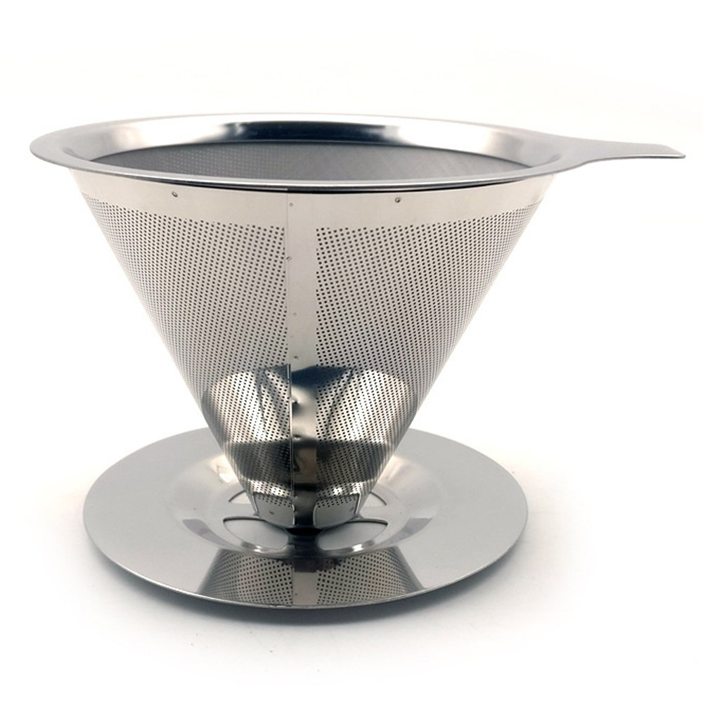 AIYoo Stainless Steel Drip Cone Coffee Filter Pour Over Coffee Maker Coffee Filter Paperless /& Reusable Coffee Cone Dripper Premium Filtration Coffee Dripper Single Cup