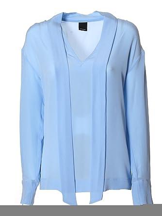 a16c3ec0d1 PINKO Women's Aiacee38 Light Blue Silk Blouse: Amazon.co.uk: Clothing
