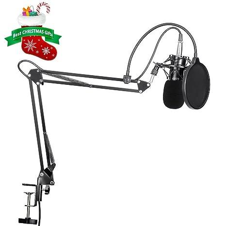 Micrófono de Condensador, U-Kiss Sets de Micrófono, Micrófono Grabación Ajustable Suspensión Brazo