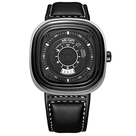 North King Relojes Bonitos Reloj Luminoso Cuadrado Macho Cuarzo Relojes Fecha exhibición Moda Hombre para Regalo
