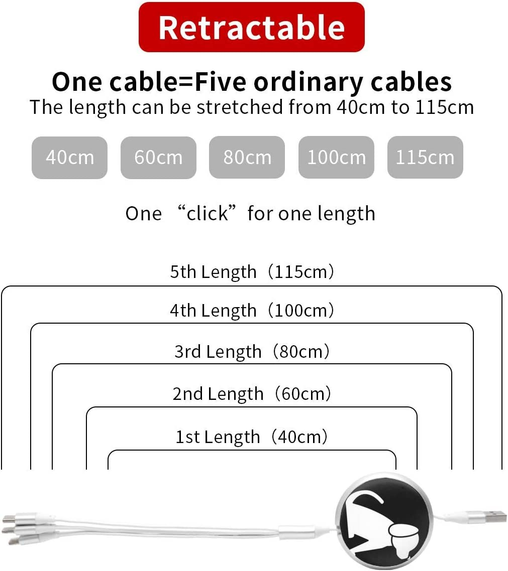 Puppy Dog Round Telescopic Aluminum Alloy Shell Charging Cable Three-in-One Data USB Cable Phone Charger
