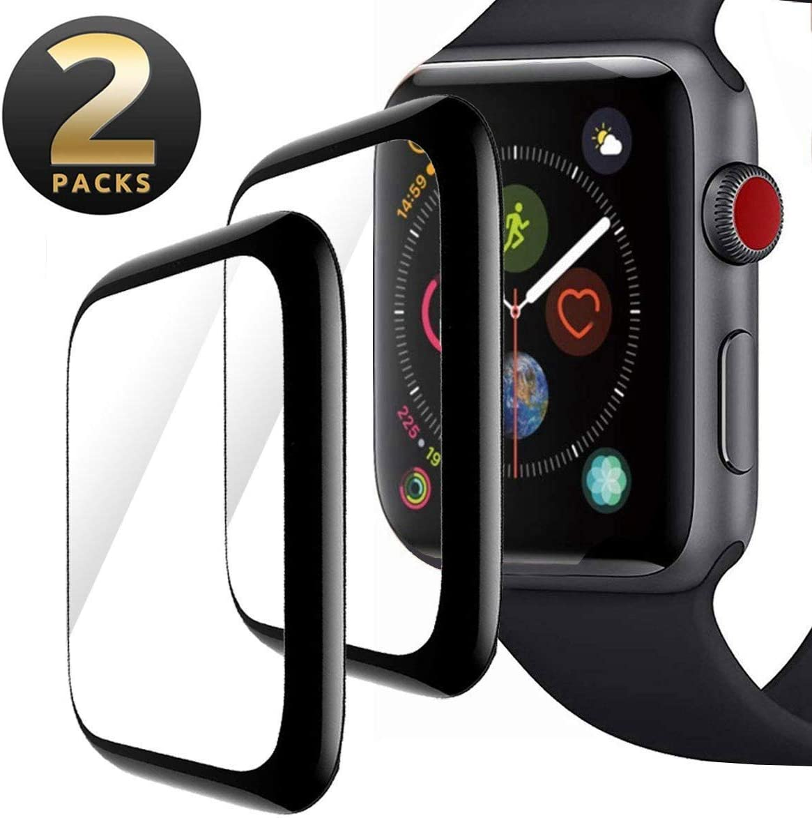 Screen Protector for Apple Watch 42mm, [2 pack] Max Coverage Anti-Scratch Bubble-Free Black Edge 3D Curved Tempered Glass Film Compatible with iWatch 42mm Series 3/2/1
