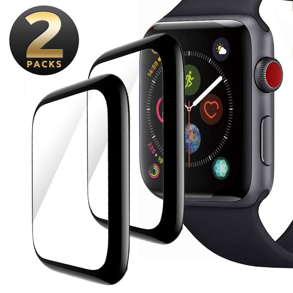 [2 - Pack] Screen Protector for Apple Watch 42mm,Anti-Smudge Anti-Scratch Bubble-Free Full Coverage 9H Hardness Tempered Glass Film for iWatch 42mm Series 3/2/1 by ZJSSMART