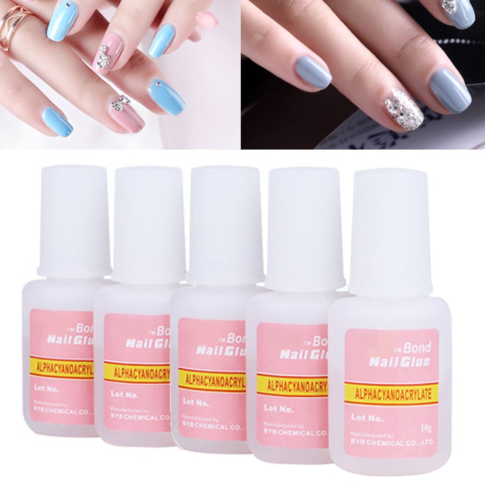 Nail Glue, Super Strong Nail Tip Bond Adhesive Glue - Perfect for False Acrylic Art Natural, Dimonties, Glitter, Rhinestones, Diamantes, Jewels, Gems, White Clear Tip Applications - Anti Fung MEIBY