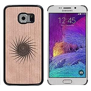Funda Cubierta Madera de cereza Duro PC Teléfono Estuche / Hard Case for Samsung Galaxy S6 EDGE / Phone Case TECELL Store / Resumen forma dom Spikes minimalista Abstract Sun Shape Spikes Minimalist