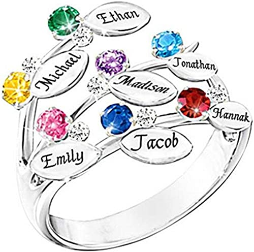 Personalized Jewelry Leaves Pattern Rings Engrave with 7 Name /& 7 Birthstone Rings for Friends Families Gift Noonan