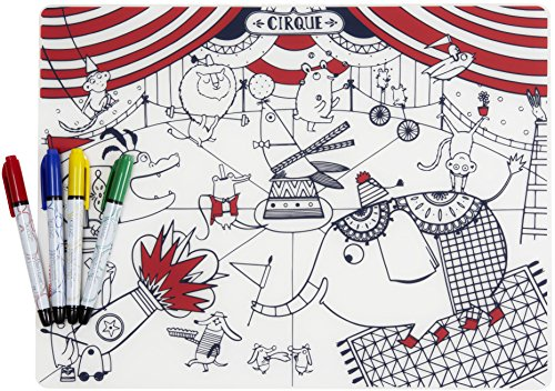 (modern-twist KBCIR4 Waterproof Silicone Kids Washable Coloring Placemat, Mark-Mat Set, Circus)