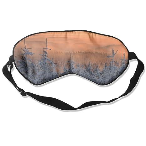 Máscara de Seda Natural para Dormir de Invierno con Ojal de Sol Ajustable para Hombres,