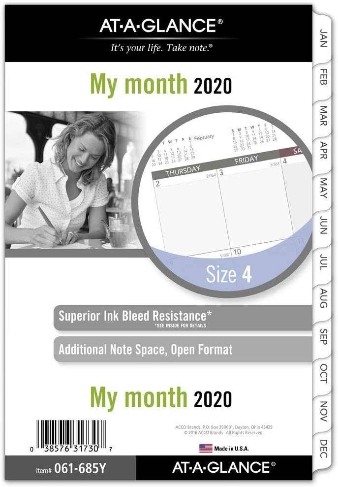 """AT-A-GLANCE 2020 Monthly Planner Refill, Day Runner, 5-1/2"""" x 8-1/2"""", Desk Size 4, Loose Leaf (061-685Y)"""