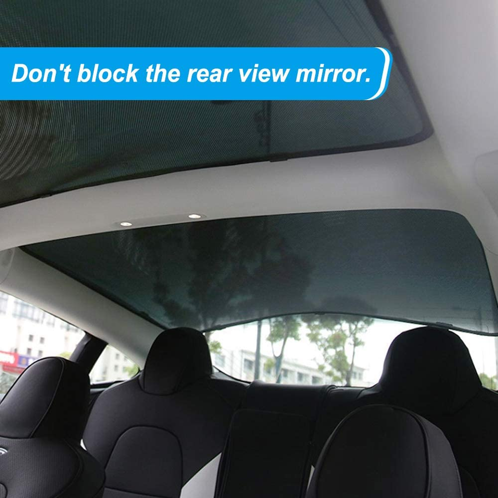 2 of Set,Black TACHICO Tesla Model 3 Glass Roof Mesh Sunshade Sunroof Overhead Roof Sun Shade,Fit Roof Window Sunshades Compatible for Tesla Model 3
