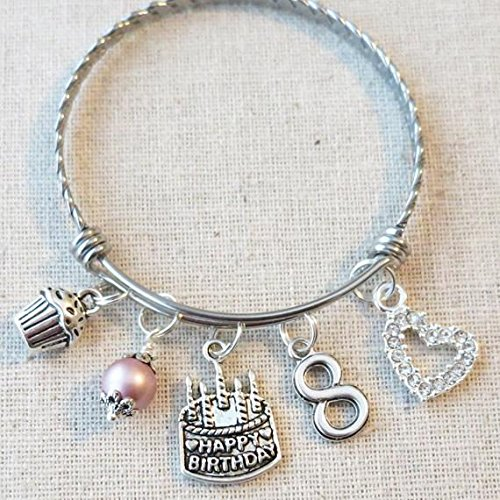 8th BIRTHDAY GIRL 8th Birthday Charm Bracelet 8 Year Old