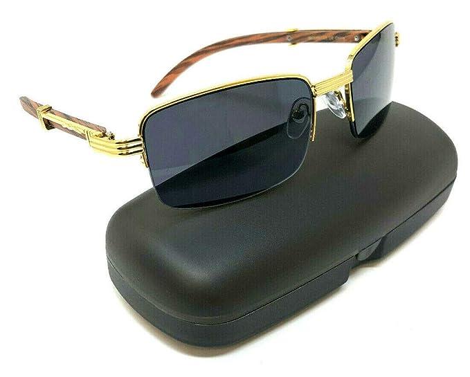 d19ba820ebf7 Executive Slim Half Rim Rectangular Metal   Wood Aviator Sunglasses (Gold    Cherry Wood w