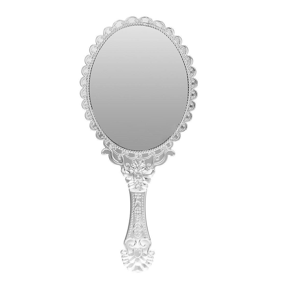 SODIAL(R) Ladies Vintage Repousse Floral Hand Held Oval Mirror Makeup Dresser