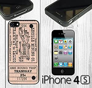 Vintage Train Ticket Custom made Case/Cover/skin FOR iPhone 4/4s - Black - Rubber Case
