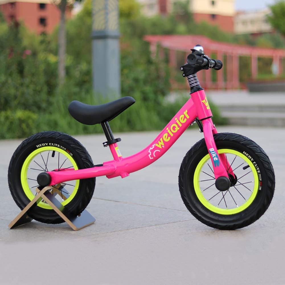 Lhh Bambini Equilibrio Bike Mini Portatile Nessun Pedale Sedile Regolabile Walker Training Bicicletta per 2+Anni(12 Pollici),Red