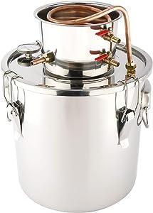 HighFree 5 Gal 20 Litres Moonshine Still Home Alcohol Distiller Wine Making Set Including Stainless Steel Boiler and Condenser, Home Distiller Brew Kit for DIY Wine