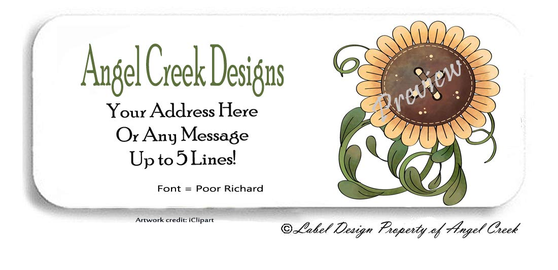 30 Country Primitive Giant Sunflower Personalized Return Address Labels