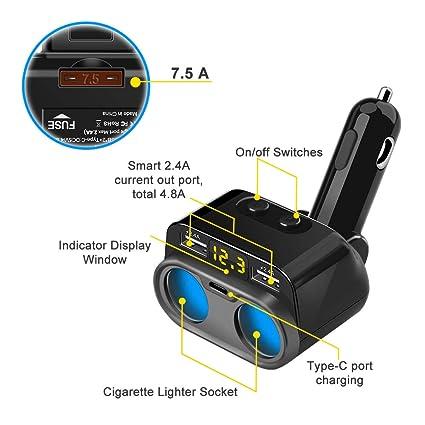 Eletrand Cargador para Coche con 2 Puertos USB & USB Tipo Cy 2 Tomas,12V / 24V Adaptador Mechero Coche para iPhone, Samsung, iPad, GPS, Cámara para ...
