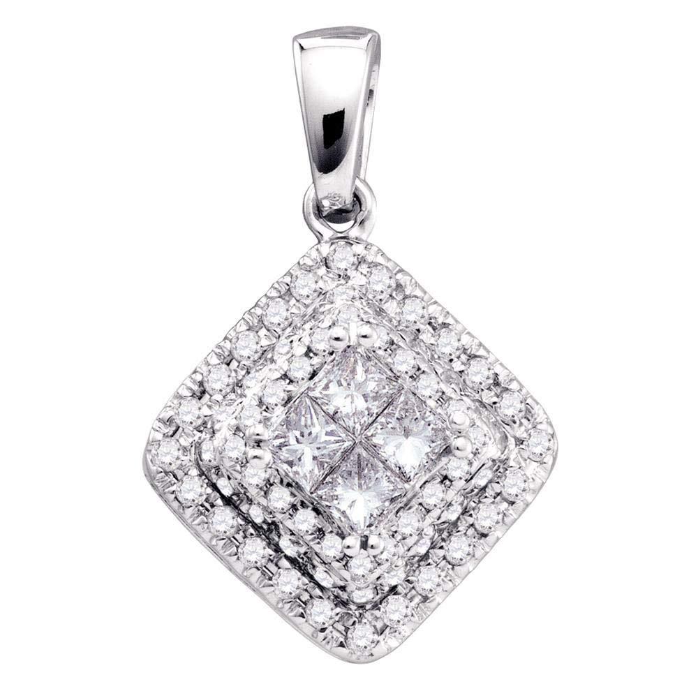 14kt White gold Womens Princess Diamond Square Frame Cluster Pendant 1 2 Cttw
