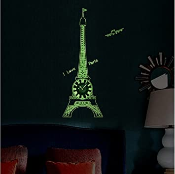 Amazoncom DIY Clock 3D Eiffel Tower And Wall Stickers Glow in