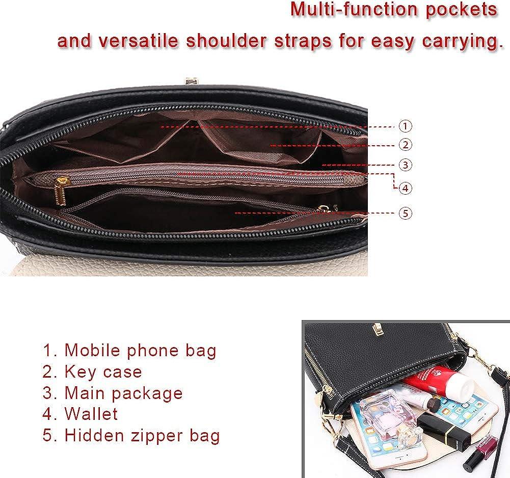 S.CHARMA Shoulder Bag Crossbody Contrast Color Ladies Small Square Bag Daily Travel Vintage Stylish Womens PU Handbag