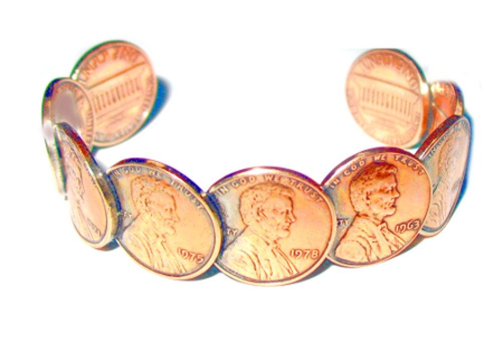 Roger Enterprises copper Penny Cuff Bracelet Actual Penny Size Coins