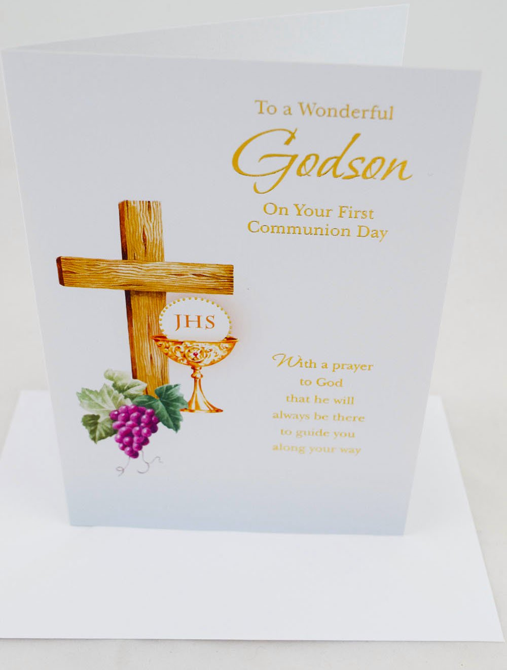 First 1st Holy Communion Greeting Card For Godson Blessing Prayers