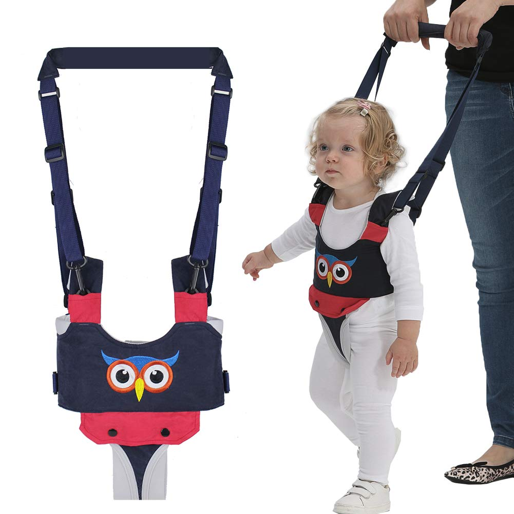 Tisi Adjustable Baby Walking Assistant Harness Anti Lost Safety Cuff with Lock Walking Learning Helper 2 IN 1 Detachable Safety Walking Harness for 6-28 Months Baby Infant Toddler Kids Blue