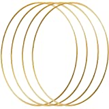 HOHIYA 16 inch Metal Floral Hoop Wreath Large Craft Dream Catcher Macrame Rings for Christmas Wedding Wall Hanging 4mm Wire (Gold,Pack of 4)