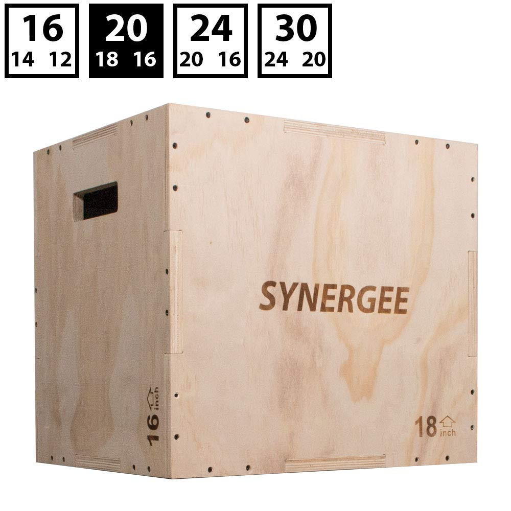 Synergee 3 in 1 Wood Plyometric Box for Jump Training and Conditioning. Wooden Plyo Box All in One Jump Trainer. Size - 20/18/16 by Synergee