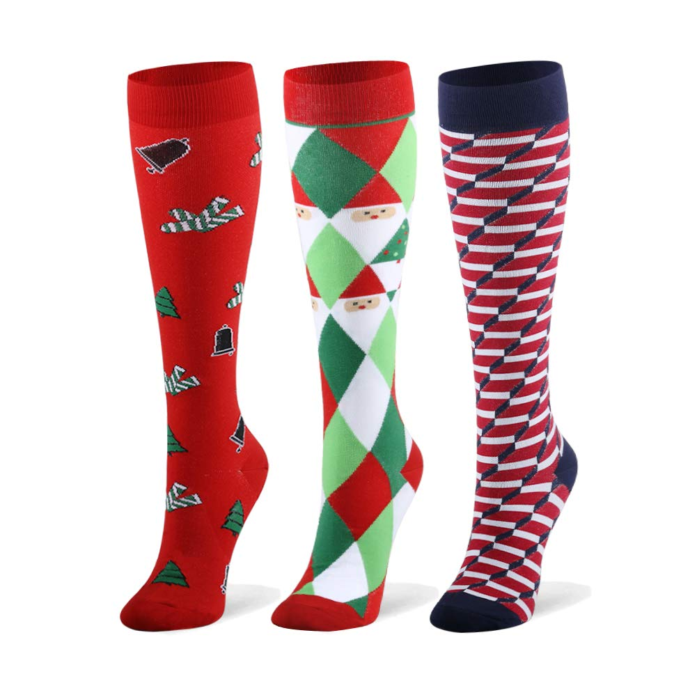 Compression Socks for Men & Women - 20-30mmHg 2 to 6 Pairs Compression Stockings for Runners, Edema (Large/X-Large, Christmas Style 2, 3 Pairs) by Fotociti