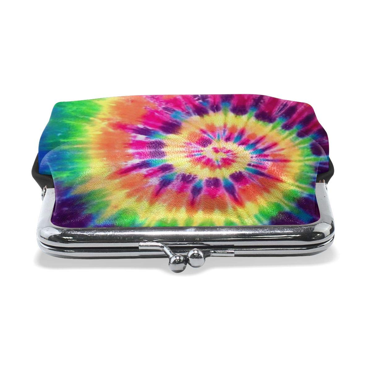Tie Dye Classic Buckle Coin Purses Leather Kiss-Lock Change Wallets