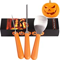 Halloween Pumpkin Carving Kit Tool Sets, 3 Piece Professional Pumpkin Carver, Sturdy Heavy Duty Stainless Steel Pumpkin Tools Crafted for Efficiency Easily Carve Sculpt Jack O Lanterns