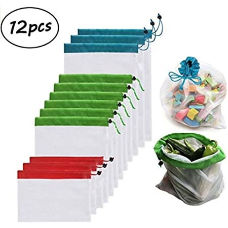 JYUAN - Juego de 12 bolsas reutilizables de malla para organizar ...
