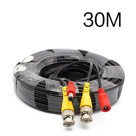 BNC cable de vídeo 30 Metros Alimentación de la Cámara de Seguridad con Cable de 12V