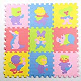 Jcdlits@ Puzzle Play Mat Jigsaw with Borders Kids Multi-Color Safe Baby Playground Soft Padded Floor Protection EVA Foam Interlocking Tiles Non-Toxic (10pcs) (style1)