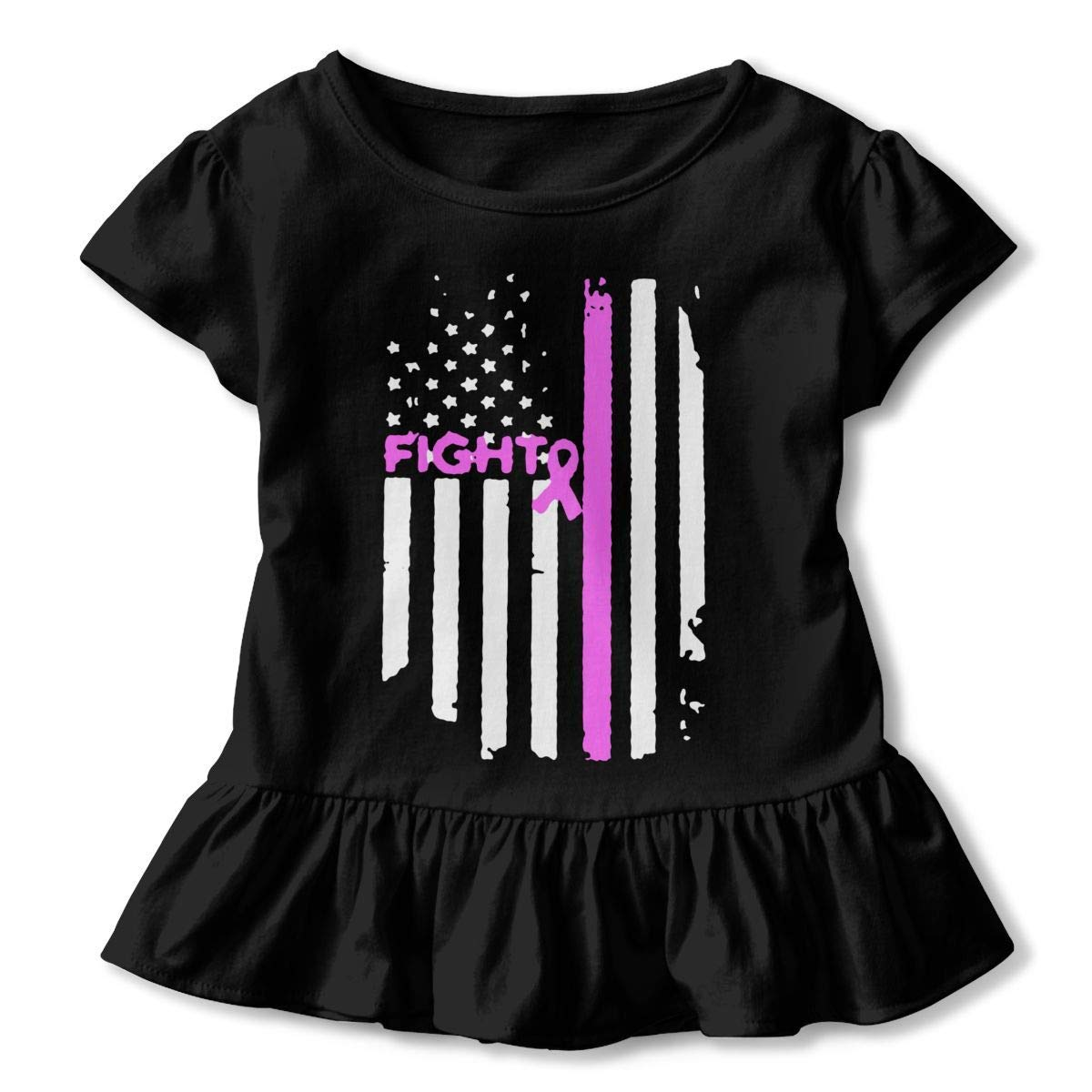 2-6T PMsunglasses Short Sleeve Fight Breast Cancer Shirts for Kids Ruffled Blouse Clothes with Falbala
