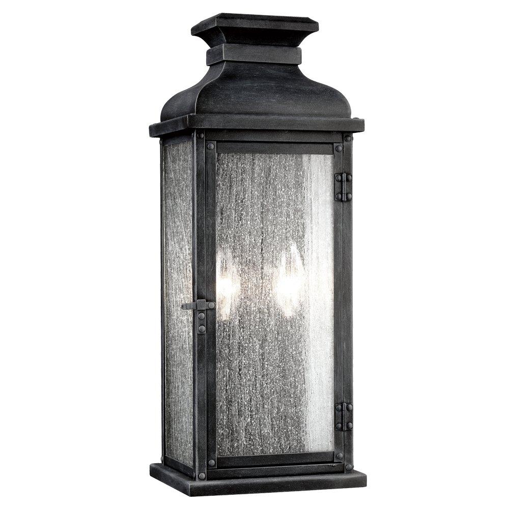 """Feiss OL11101DWZ Pediment Outdoor Lighting Wall Pocket Sconce, Bronze, 2-Light (7""""W x 18""""H) 120watts"""
