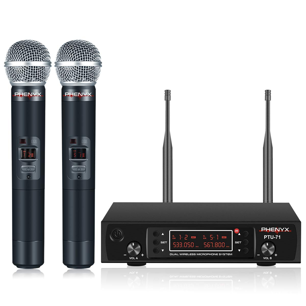 Wireless Microphone System, Phenyx Pro PTU-71 Dual UHF Cordless Mic Set With Handheld Mics, All Metal, 200 Channels, Interference-free Long Distance Operation, Ideal for DJ, Church, Weddings(PTU-71A)