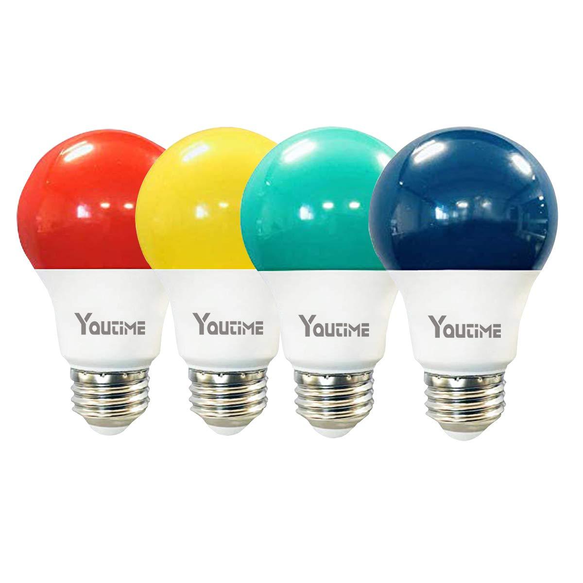 Youtime A19 LED Yellow Bug Light Bulb 7W Daylight White 5000K with E26 Medium Base, 4 Packs