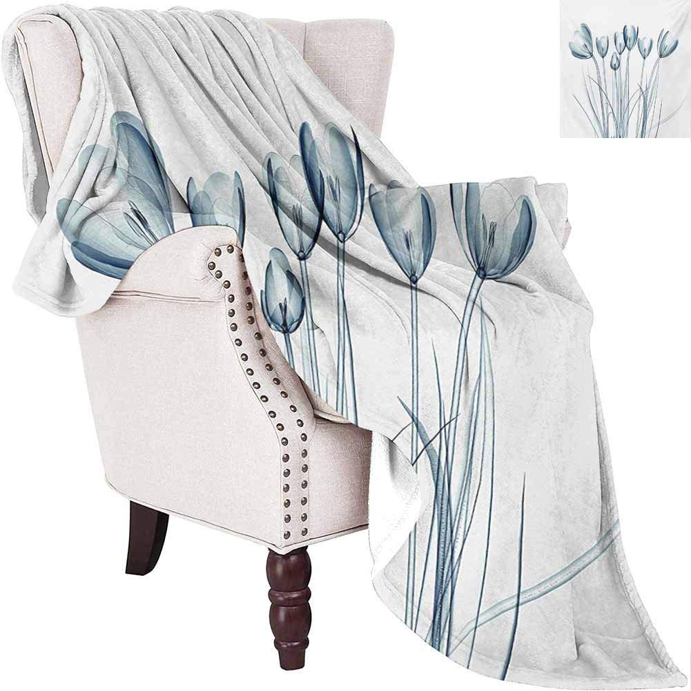 MKOK Flower Bedding Microfiber Blanket X-ray Transparent Image of Tulips Solarized Effects Nature Inspired Vision Super Soft and Comfortable Luxury Bed Blanket W55 x L55 Inch White and Dark Teal