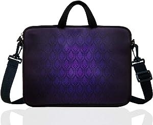 "14-Inch Neoprene Laptop Shoulder Messenger Bag Case Sleeve for 13 13.3 14 14.1"" Inch Notebook/Chromebook (Classic Purple)"